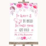 Pink Watercolour Floral Wedding Blanket Scarf Customised Wedding Sign