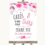 Pink Watercolour Floral Cards & Gifts Table Customised Wedding Sign