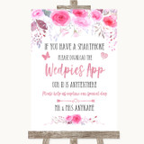 Pink Watercolour Floral Wedpics App Photos Customised Wedding Sign