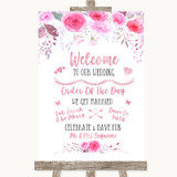 Pink Watercolour Floral Welcome Order Of The Day Customised Wedding Sign