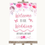 Pink Watercolour Floral Welcome To Our Wedding Customised Wedding Sign
