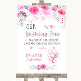 Pink Watercolour Floral Wishing Tree Customised Wedding Sign