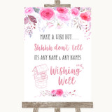 Pink Watercolour Floral Wishing Well Message Customised Wedding Sign