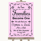 Pink As Families Become One Seating Plan Customised Wedding Sign