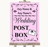 Pink Card Post Box Customised Wedding Sign