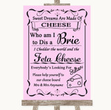Pink Cheese Board Song Customised Wedding Sign