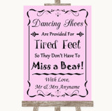 Pink Dancing Shoes Flip-Flop Tired Feet Customised Wedding Sign