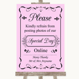 Pink Don't Post Photos Online Social Media Customised Wedding Sign