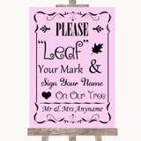 Pink Fingerprint Tree Instructions Customised Wedding Sign