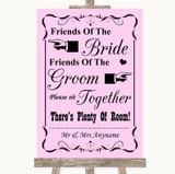 Pink Friends Of The Bride Groom Seating Customised Wedding Sign