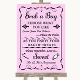 Pink Grab A Bag Candy Buffet Cart Sweets Customised Wedding Sign