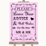 Pink Guestbook Advice & Wishes Gay Customised Wedding Sign