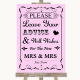 Pink Guestbook Advice & Wishes Lesbian Customised Wedding Sign