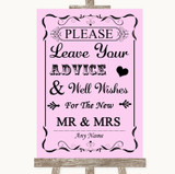 Pink Guestbook Advice & Wishes Mr & Mrs Customised Wedding Sign