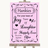 Pink Hankies And Tissues Customised Wedding Sign