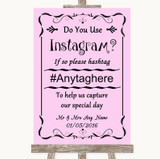 Pink Instagram Photo Sharing Customised Wedding Sign