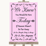 Pink Loved Ones In Heaven Customised Wedding Sign
