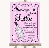 Pink Message In A Bottle Customised Wedding Sign
