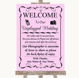 Pink No Phone Camera Unplugged Customised Wedding Sign
