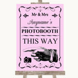 Pink Photobooth This Way Left Customised Wedding Sign
