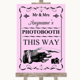 Pink Photobooth This Way Right Customised Wedding Sign