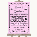 Pink Pick A Prop Photobooth Customised Wedding Sign