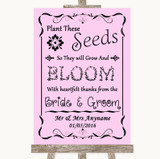 Pink Plant Seeds Favours Customised Wedding Sign