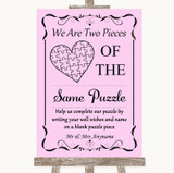 Pink Puzzle Piece Guest Book Customised Wedding Sign
