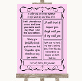 Pink Romantic Vows Customised Wedding Sign