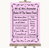 Pink Rules Of The Dancefloor Customised Wedding Sign