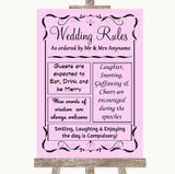 Pink Rules Of The Wedding Customised Wedding Sign