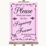 Pink Signing Frame Guestbook Customised Wedding Sign
