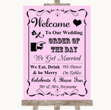 Pink Welcome Order Of The Day Customised Wedding Sign