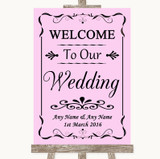 Pink Welcome To Our Wedding Customised Wedding Sign