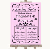 Pink Who's Who Leading Roles Customised Wedding Sign