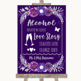 Purple & Silver Alcohol Bar Love Story Customised Wedding Sign