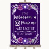 Purple & Silver Instagram Hashtag Customised Wedding Sign
