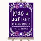 Purple & Silver Kids Table Customised Wedding Sign