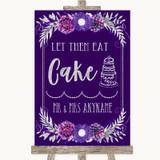 Purple & Silver Let Them Eat Cake Customised Wedding Sign