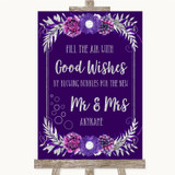 Purple & Silver Blow Bubbles Customised Wedding Sign