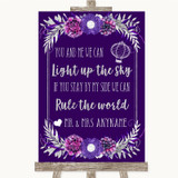 Purple & Silver Light Up The Sky Rule The World Customised Wedding Sign