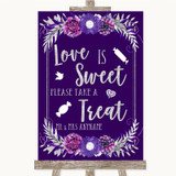 Purple & Silver Love Is Sweet Take A Treat Candy Buffet Wedding Sign