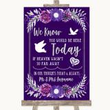Purple & Silver Loved Ones In Heaven Customised Wedding Sign