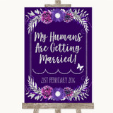 Purple & Silver My Humans Are Getting Married Customised Wedding Sign