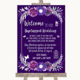 Purple & Silver No Phone Camera Unplugged Customised Wedding Sign