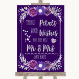 Purple & Silver Petals Wishes Confetti Customised Wedding Sign