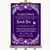 Purple & Silver Photo Guestbook Friends & Family Customised Wedding Sign