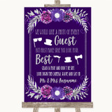 Purple & Silver Photo Prop Guestbook Customised Wedding Sign