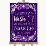 Purple & Silver Bucket List Customised Wedding Sign