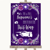 Purple & Silver Photobooth This Way Left Customised Wedding Sign